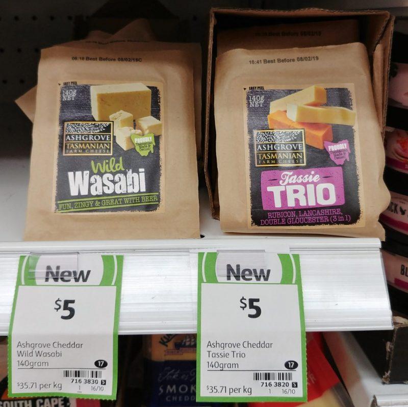Ashgrove 140g Cheddar Wild Wasabi, Tassie Trio