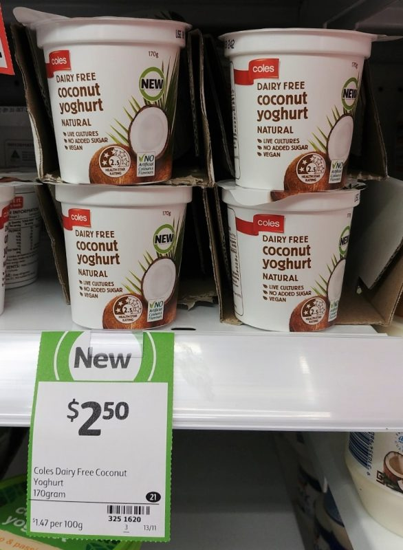 Coles 170g Coconut Yoghurt Dairy Free Natural