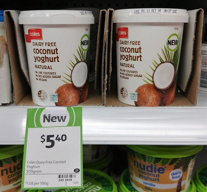 Coles 500g Coconut Yoghurt Dairy Free Natural