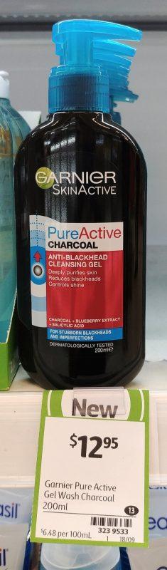Garnier 200mL Anti Blackhead Cleansing Gel Pure Active Charcoal