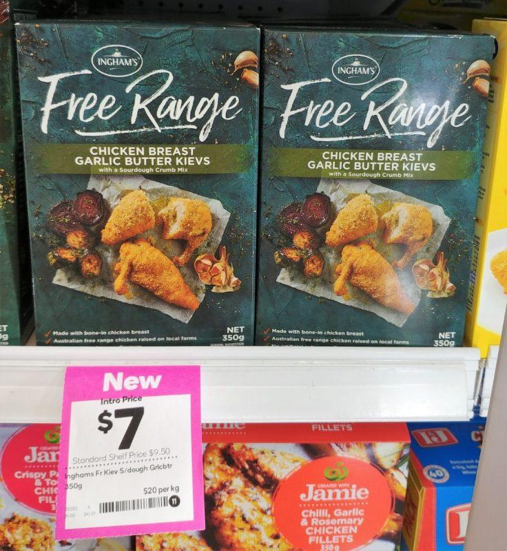 Ingham's 350g Free Range Chicken Breast Garlic Butter Kievs Sourdough Crumb Mix