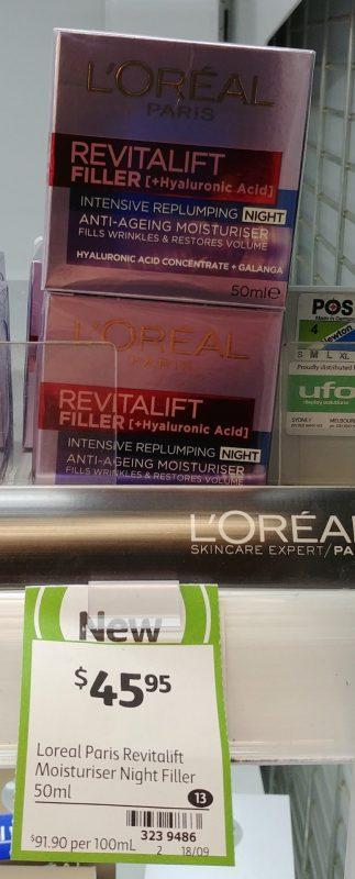L'Oreal 50mL Anti Ageing Moisturiser Revitalift Filler + Hyaluronic Acid