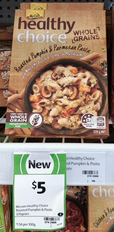 Mc Cain 320g Healthy Choice Roasted Pumpkin & Parmesan Pasta