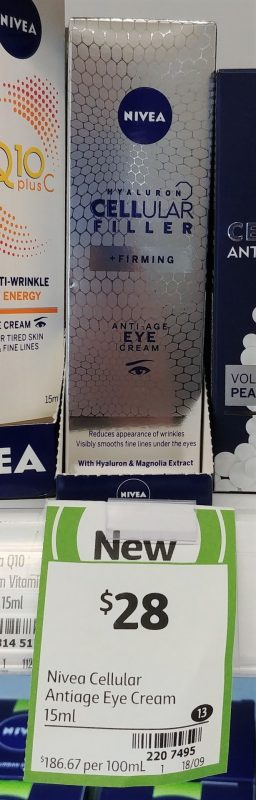 Nivea 15mL Anti Age Eye Cream Hyaluron Cellular Filler + Firming