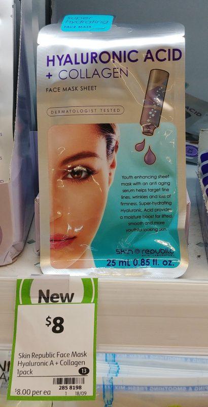 Skin Republic 1 Pack Face Mask Sheet Hyaluronic Acid + Collagen
