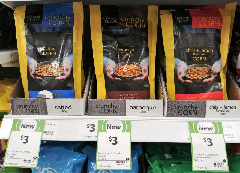 The Gourmet Nut Co 100g Crunchy Corn Salted, Barbeque, Chilli + Lemon Flavoured