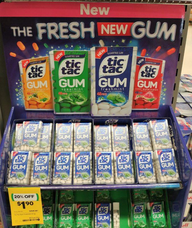 Tic Tac 23.3g Gum Cool Tropical, Spearmint, Freshmint, Cool Watermelon