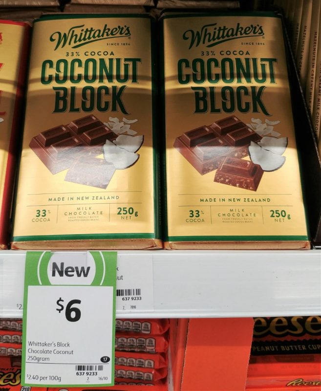 Whittaker's 250g Milk Chocolate Coconut Block