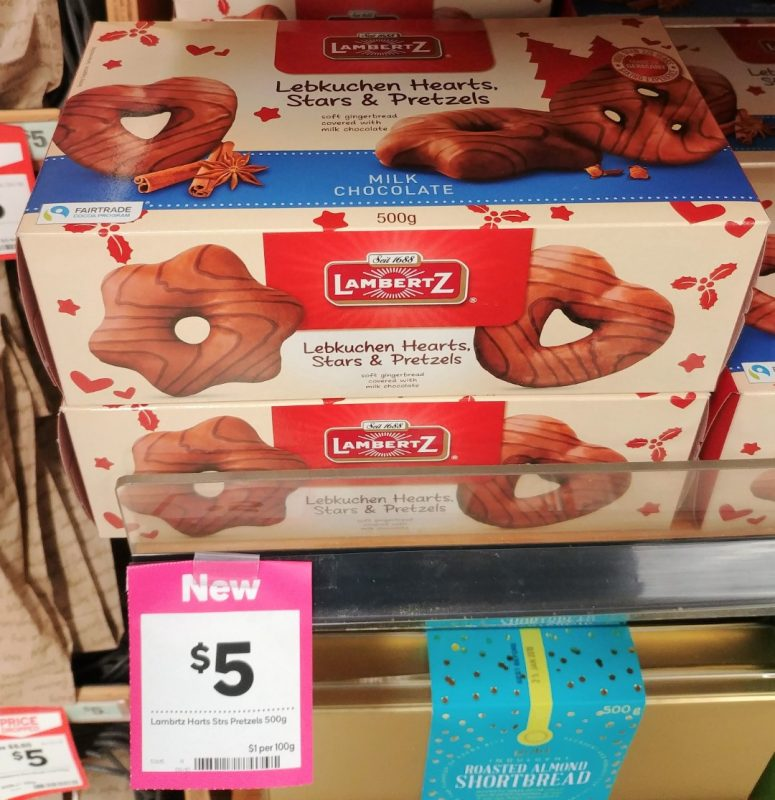 Lambertz 500g Lebkuchen Hearts, Stars & Pretzels Milk Chocolate