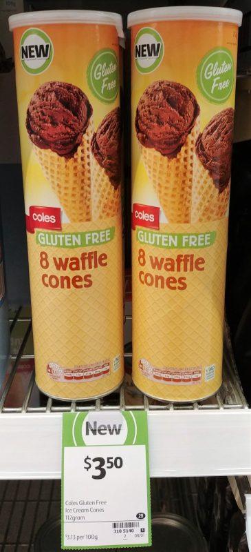 Coles 112g Waffle Cones Gluten Free
