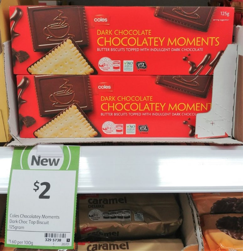 Coles 125g Biscuits Chocolate Moments Dark Chocolate