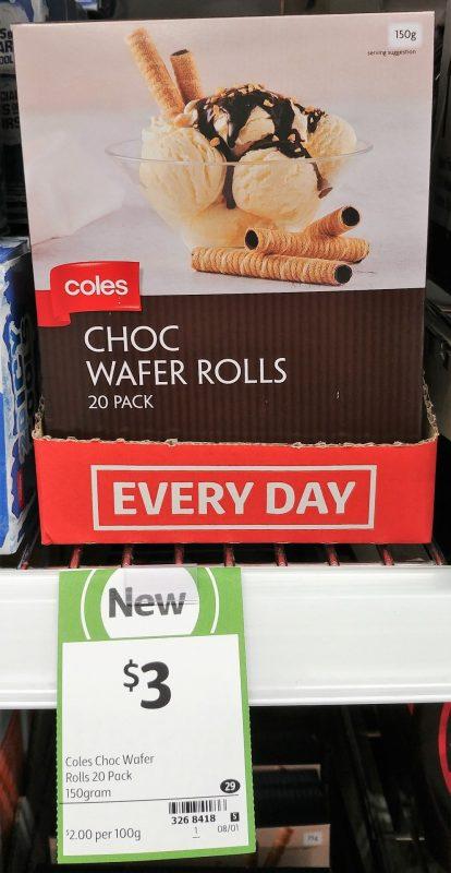 Coles 150g Wafer Rolls Choc