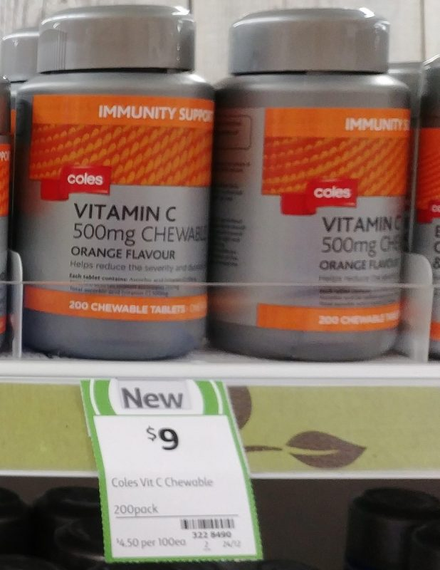 Coles 200 Pack Immunity Support Vitamin C 500mg Chweable