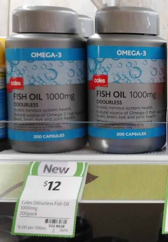 Coles 200 Pack Omega 3 Fish Oil 1000mg