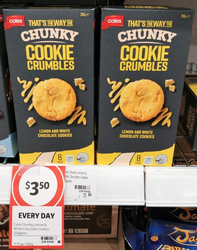 Coles 200g That's The Way The Chunky Cookie Crumbles Cookies Lemon And White Chocolate