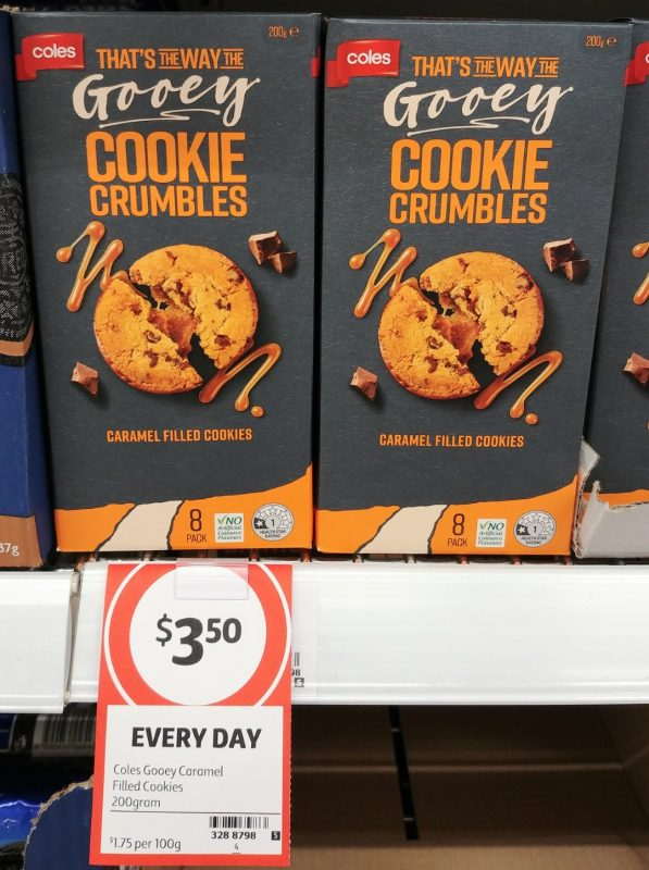 Coles 200g That's The Way The Gooey Cookie Crumbles Cookies Caramel Filled