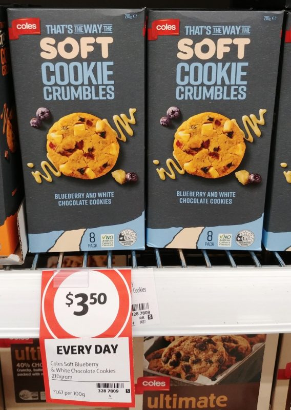 Coles 200g That's The Way The Soft Cookie Crumbles Cookies Blueberry And White Chocolate