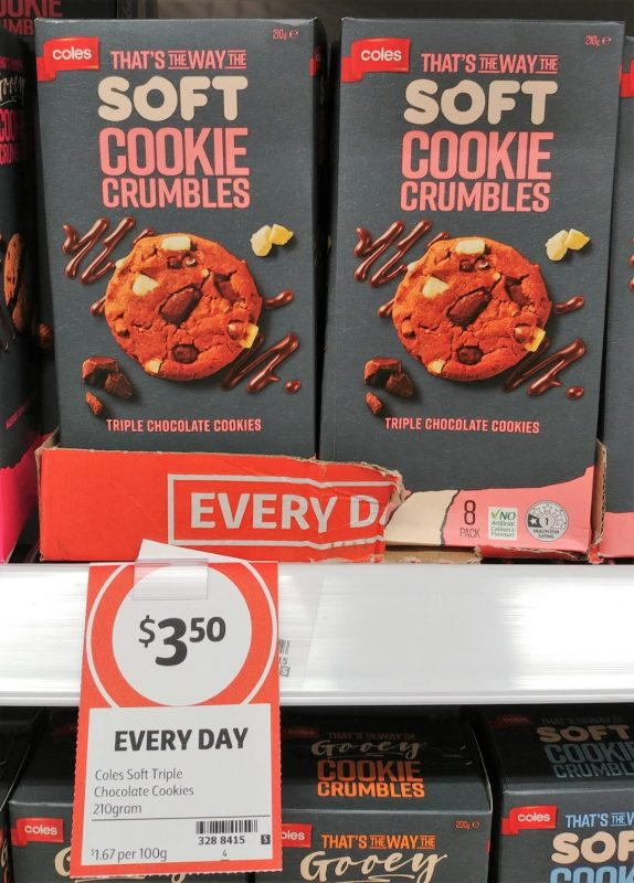 Coles 200g That's The Way The Soft Cookie Crumbles Cookies Triple Chocolate