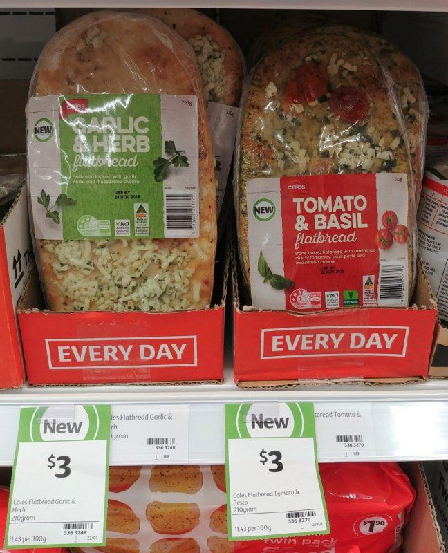 Coles 210g Flatbread Garlic & Herb, Tomato & Basil