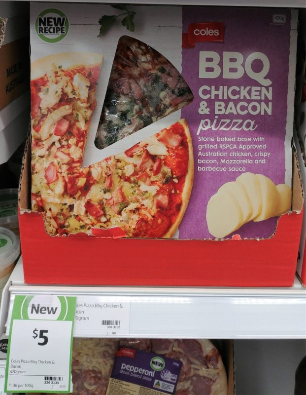 Coles 470g Pizza BBQ Chicken & Bacon