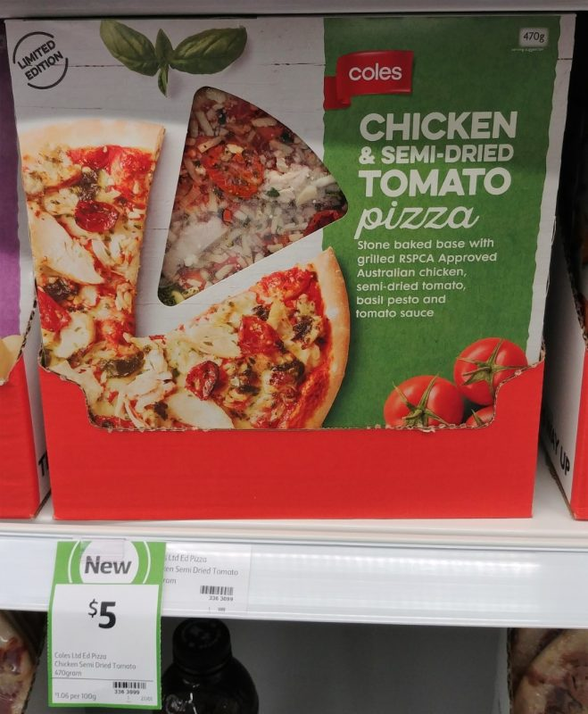 Coles 470g Pizza Chicken & Semi Dried Tomato