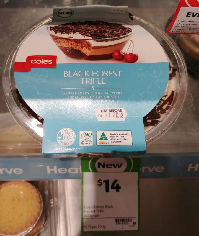 Coles 600g Trifle Black Forest