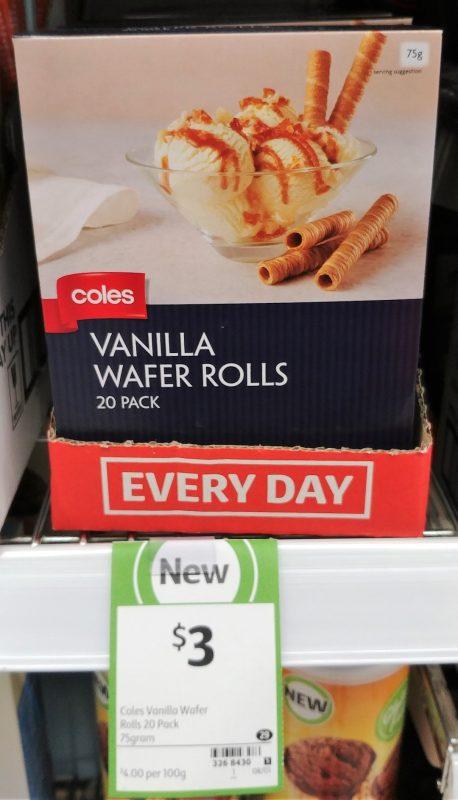 Coles 75g Wafer Rolls Vanilla