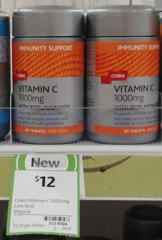 Coles 90 Pack Immunity Support Vitamin C 1000mg