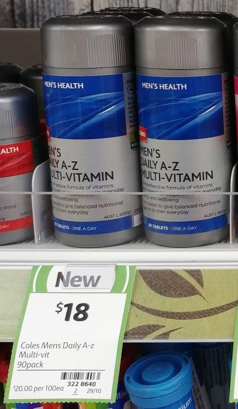 Coles 90 Pack Men's Health Daily A Z Multi Vitamin