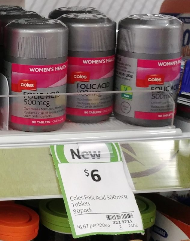 Coles 90 Pack Women's Health Folic Acid 500mcg