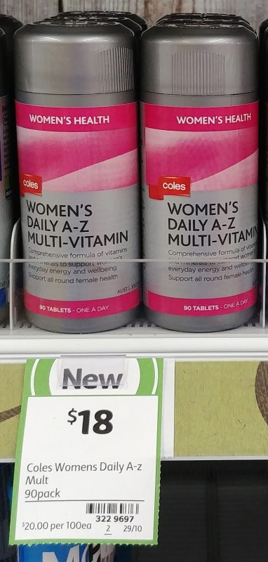Coles 90 Pack Women's Health Women's Daily A Z Multi Vitamin