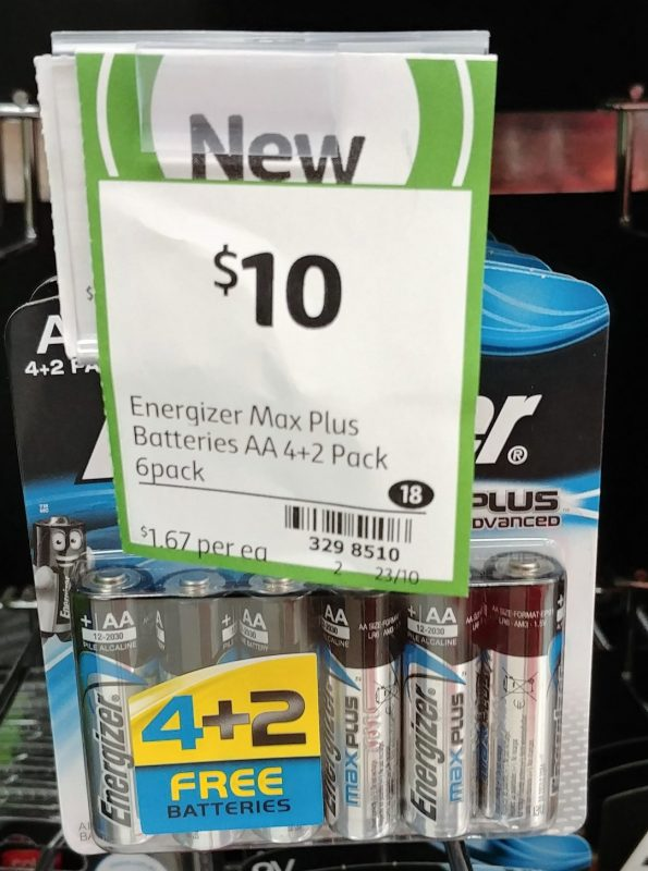 Energizer 6 Pack Batteries AA Max Plus