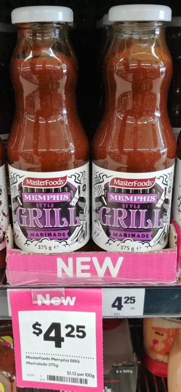 Masterfoods 375g Marinade Memphis Style Grill
