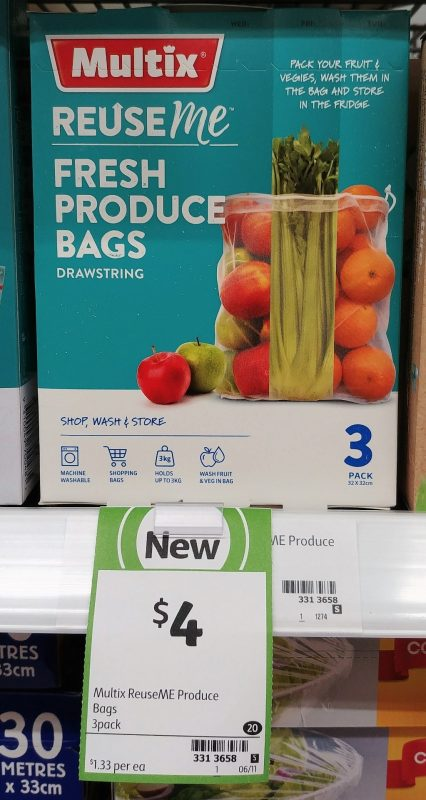 Multix 3 Pack Reuse Me Fresh Produce Bags Drawstring
