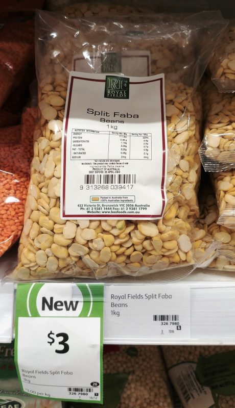 Royal Fields 1kg Beans Split Faba