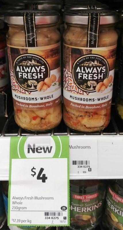 Always Fresh 230g Mushrooms Whole