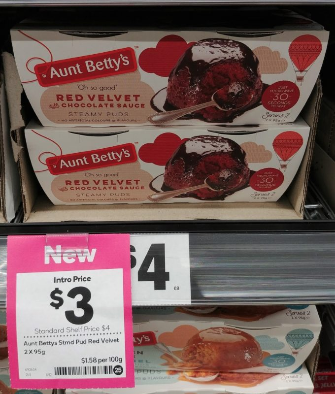 Aunt Betty's 2 X 95g Steamy Puds Red Velvet With Chocolate Sauce