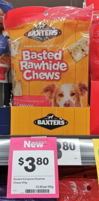 Baxter's 100g Dog Treats Chews Basted Rawhide