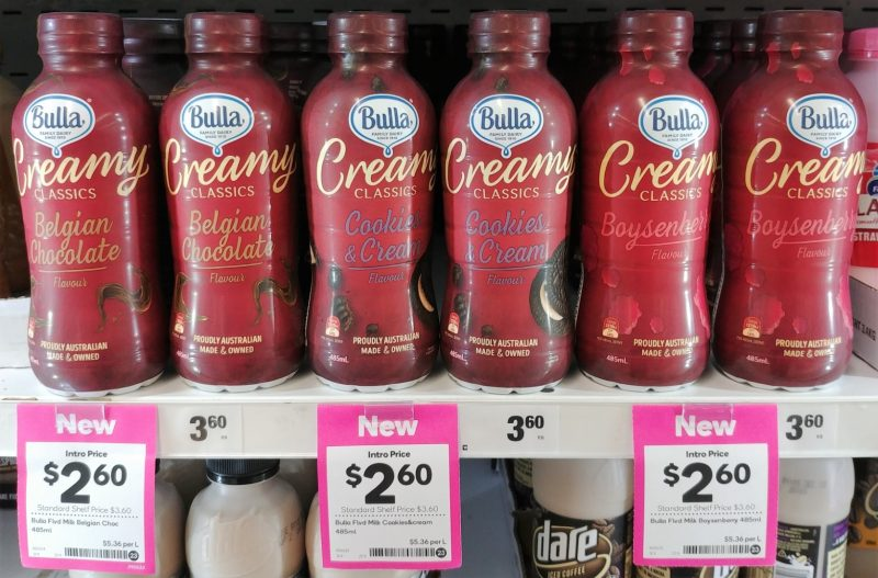 Bulla 485mL Flavoured Milk Belgian Chocolate, Cookies & Cream, Boysenberry