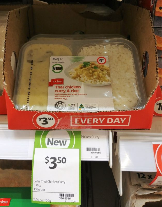 Coles 350g Thai Chicken Curry & Rice