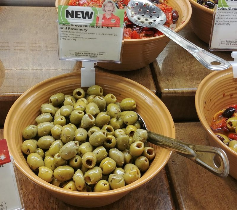 Coles Deli Green Olives With Gin And Rosemary