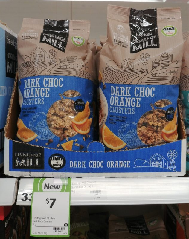 Freedom Foods 1kg Heritage Mill Clusters Dark Choc Orange