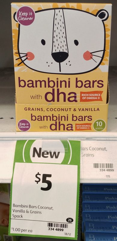 Keep It Cleaner 75g Bambini Bars Grains, Coconut & Vanilla