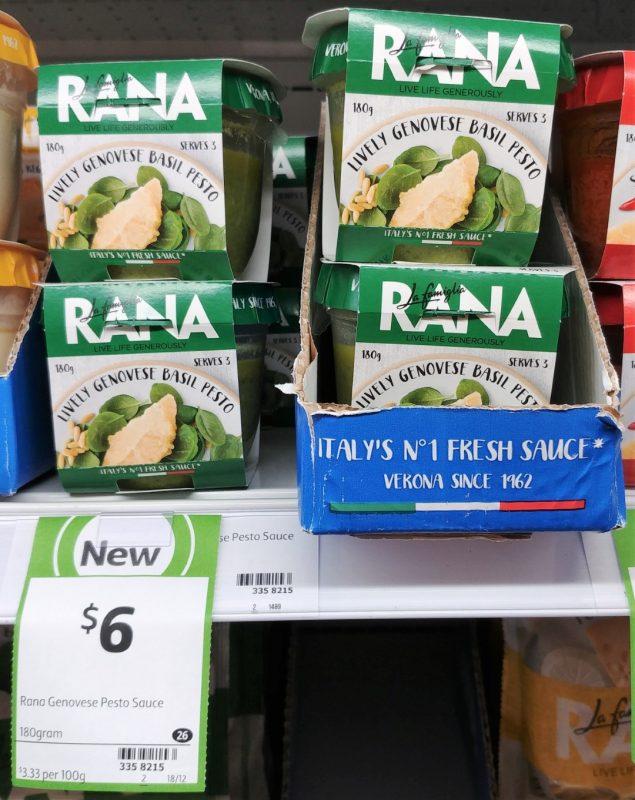 La Famiglia Rana 180g Sauce Lively Genovese Basil Pesto