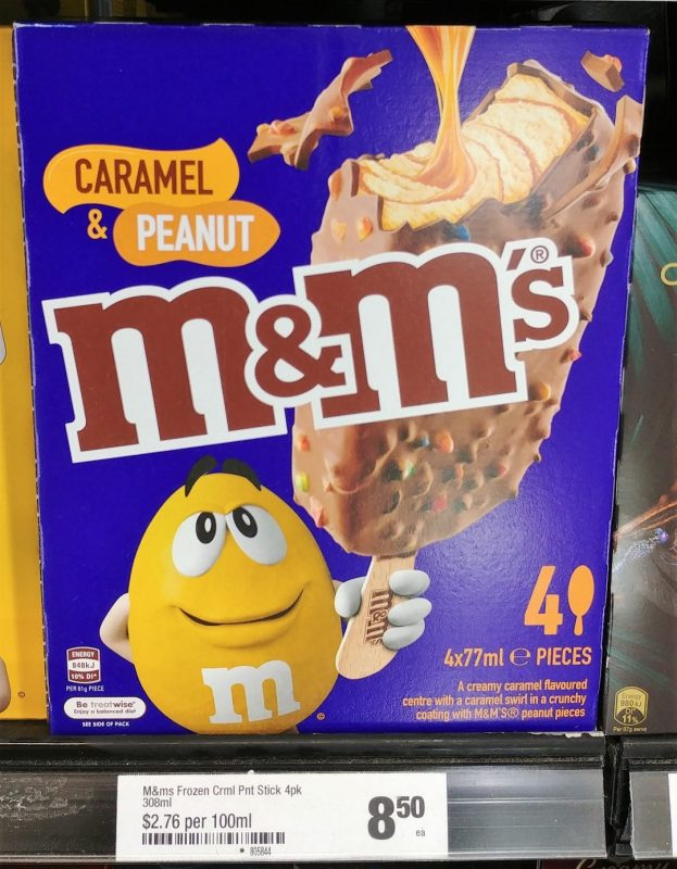 M&M's 4 X 77mL Extruded Frozen Dessert Caramel & Peanut