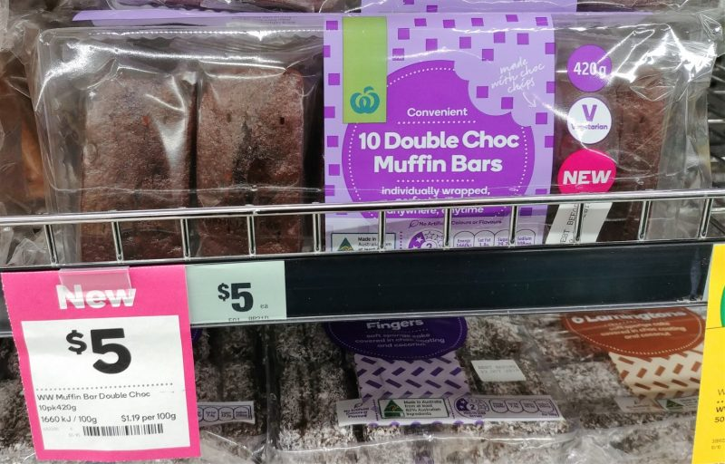Woolworths 420g Muffin Bars Double Choc