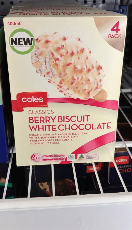 Coles 400mL Ice Cream Classics Berry Biscuit White Chocolate