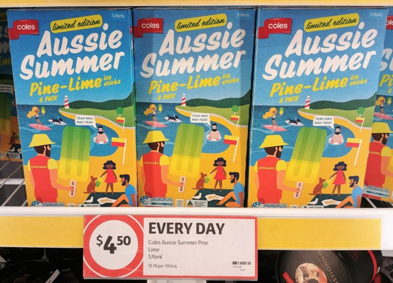 Coles 576mL Ice Sticks Aussie Summer Pine Lime