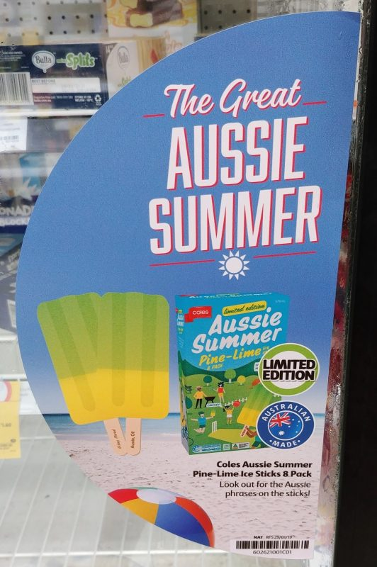 Coles 576mL Ice Sticks Aussie Summer Pine Lime POS