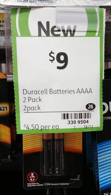 Duracell 2 Pack Batteries AAA